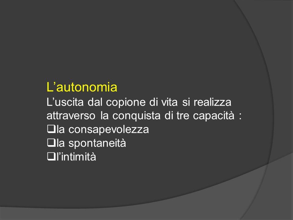 Lautonomia Luscita dal copione di vita si realizza attraverso la conquista di tre capacità : la consapevolezza la spontaneità lintimità