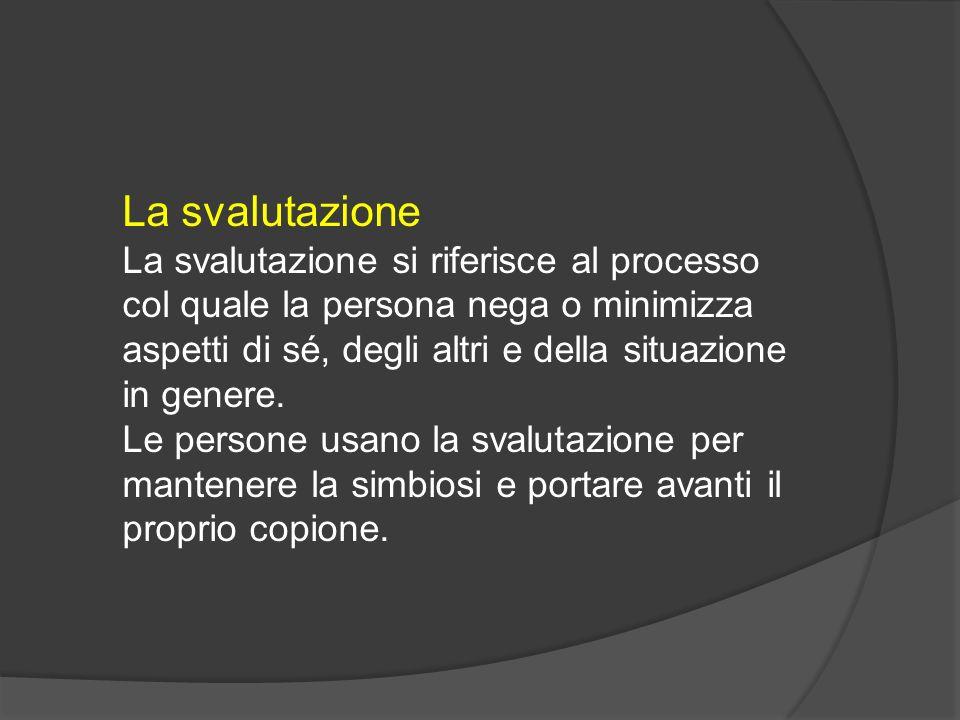 La svalutazione La svalutazione si riferisce al processo col quale la persona nega o minimizza aspetti di sé, degli altri e della situazione in genere