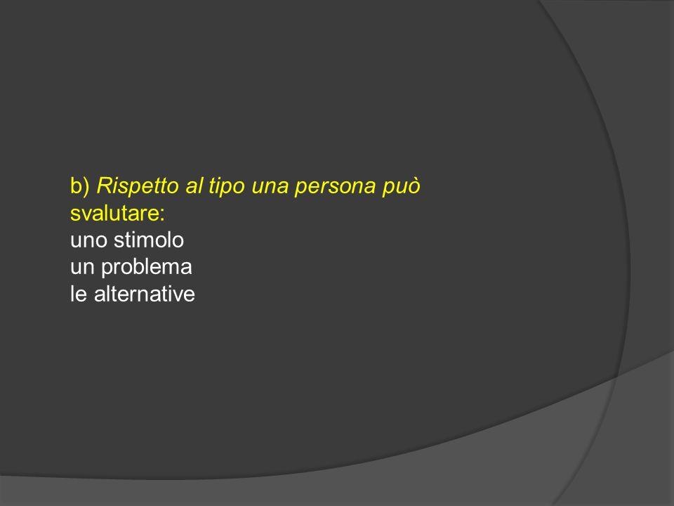 b) Rispetto al tipo una persona può svalutare: uno stimolo un problema le alternative