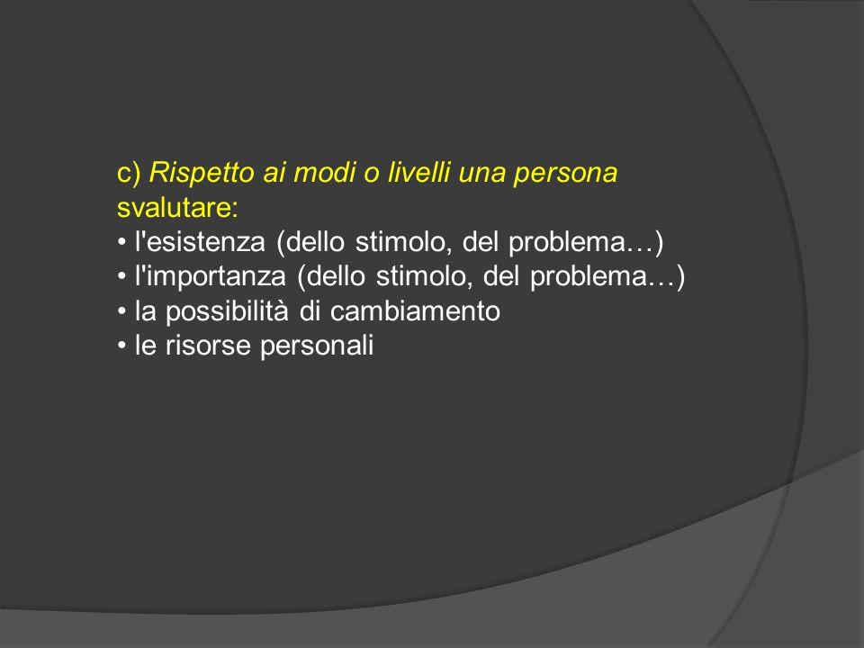 c) Rispetto ai modi o livelli una persona svalutare: l'esistenza (dello stimolo, del problema…) l'importanza (dello stimolo, del problema…) la possibi