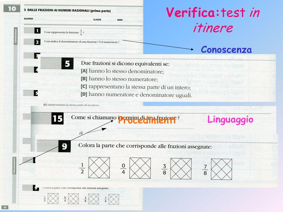 Verifica:test in itinere Conoscenza Linguaggio Procedimenti