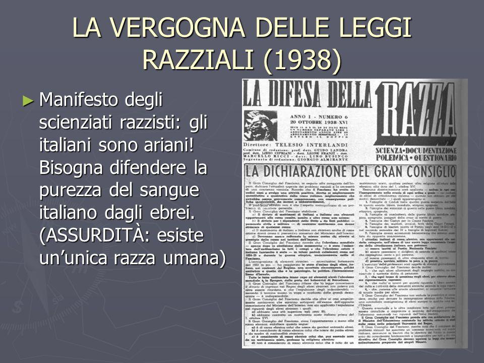 LA VERGOGNA DELLE LEGGI RAZZIALI (1938) Manifesto degli scienziati razzisti: gli italiani sono ariani! Bisogna difendere la purezza del sangue italian