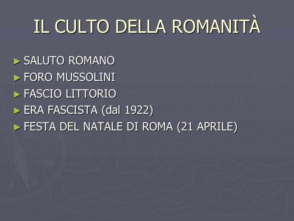 IL CULTO DELLA ROMANITÀ SALUTO ROMANO SALUTO ROMANO FORO MUSSOLINI FORO MUSSOLINI FASCIO LITTORIO FASCIO LITTORIO ERA FASCISTA (dal 1922) ERA FASCISTA