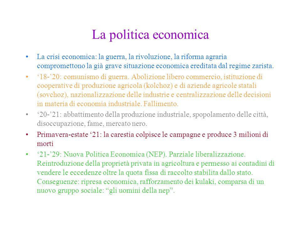La politica economica La crisi economica: la guerra, la rivoluzione, la riforma agraria compromettono la già grave situazione economica ereditata dal
