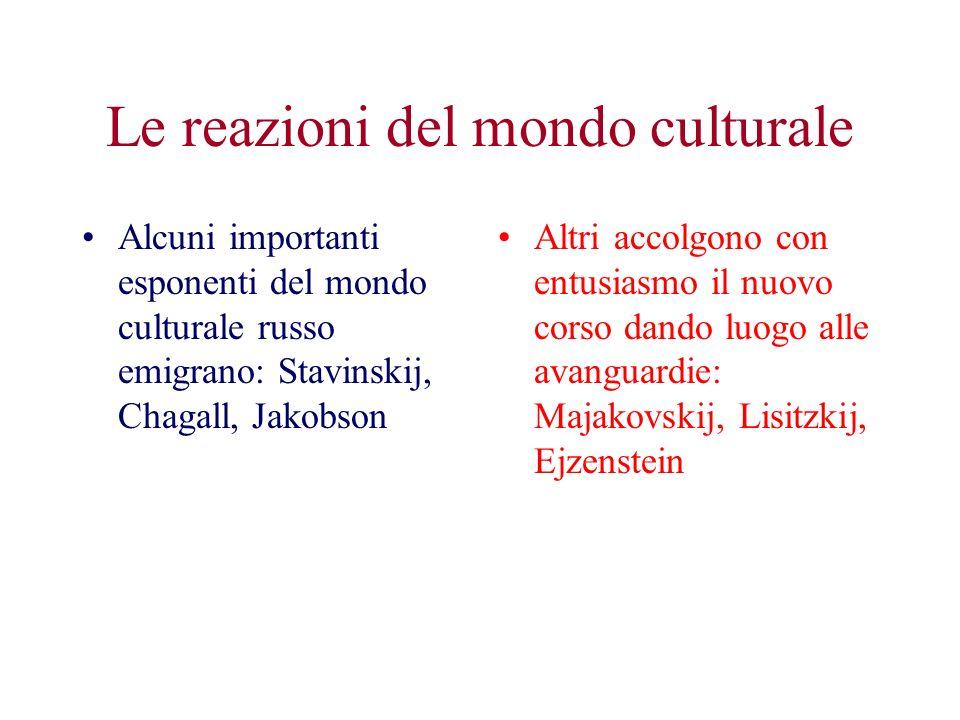 Le reazioni del mondo culturale Alcuni importanti esponenti del mondo culturale russo emigrano: Stavinskij, Chagall, Jakobson Altri accolgono con entu