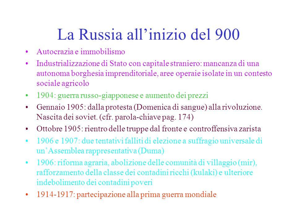 La Russia allinizio del 900 Autocrazia e immobilismo Industrializzazione di Stato con capitale straniero: mancanza di una autonoma borghesia imprendit