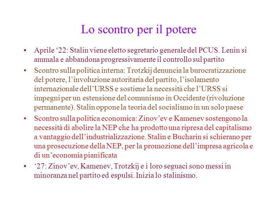 Lo scontro per il potere Aprile 22: Stalin viene eletto segretario generale del PCUS. Lenin si ammala e abbandona progressivamente il controllo sul pa
