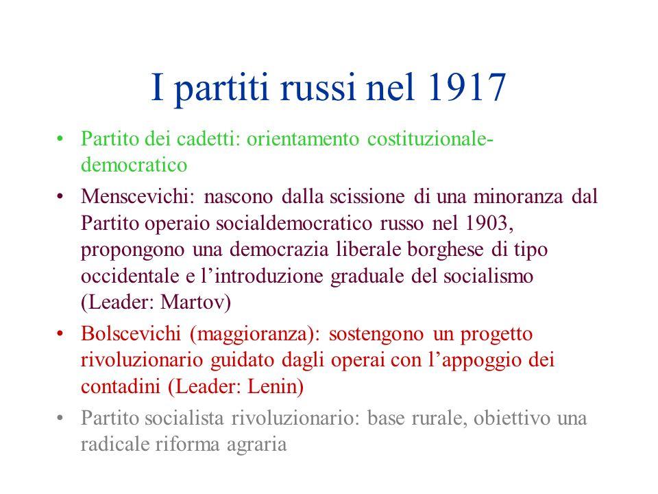 I partiti russi nel 1917 Partito dei cadetti: orientamento costituzionale- democratico Menscevichi: nascono dalla scissione di una minoranza dal Parti