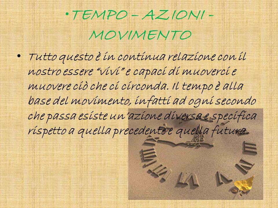 TEMPO – AZIONI - MOVIMENTO Tutto questo è in continua relazione con il nostro essere vivi e capaci di muoverci e muovere ciò che ci circonda. Il tempo
