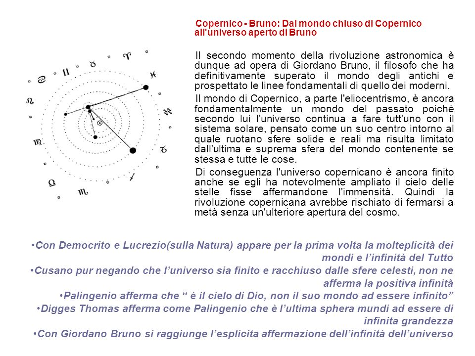 Giordano Bruno giunge a conclusioni che non derivano da osservazioni astronomiche o calcoli matematici, bensì dallintuizione riguardo allinfinità delluniverso alimentata dal copernicanesimo.
