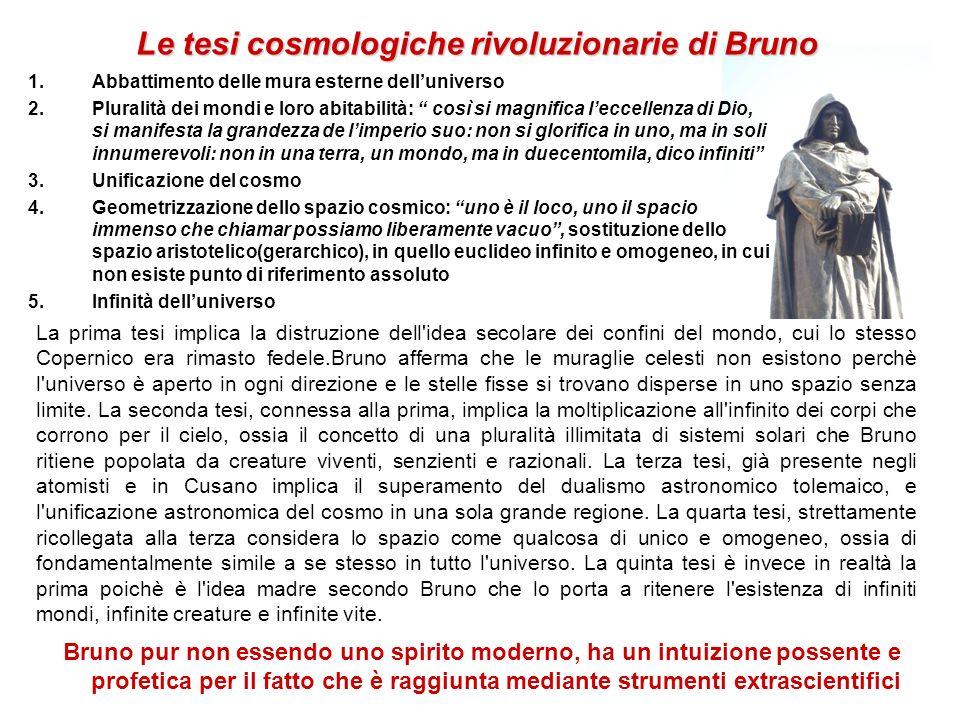Le tesi cosmologiche rivoluzionarie di Bruno 1.Abbattimento delle mura esterne delluniverso 2.Pluralità dei mondi e loro abitabilità: così si magnific