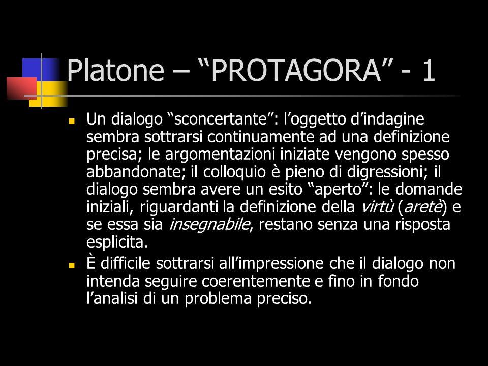 Platone – PROTAGORA - 2 Una conclusione aporetica e una situazione paradossale: alla fine ciascuno dei dialoganti si trova a sostenere una tesi opposta a quella dichiarata in principio, e corrispondente invece alla tesi iniziale dellavversario.