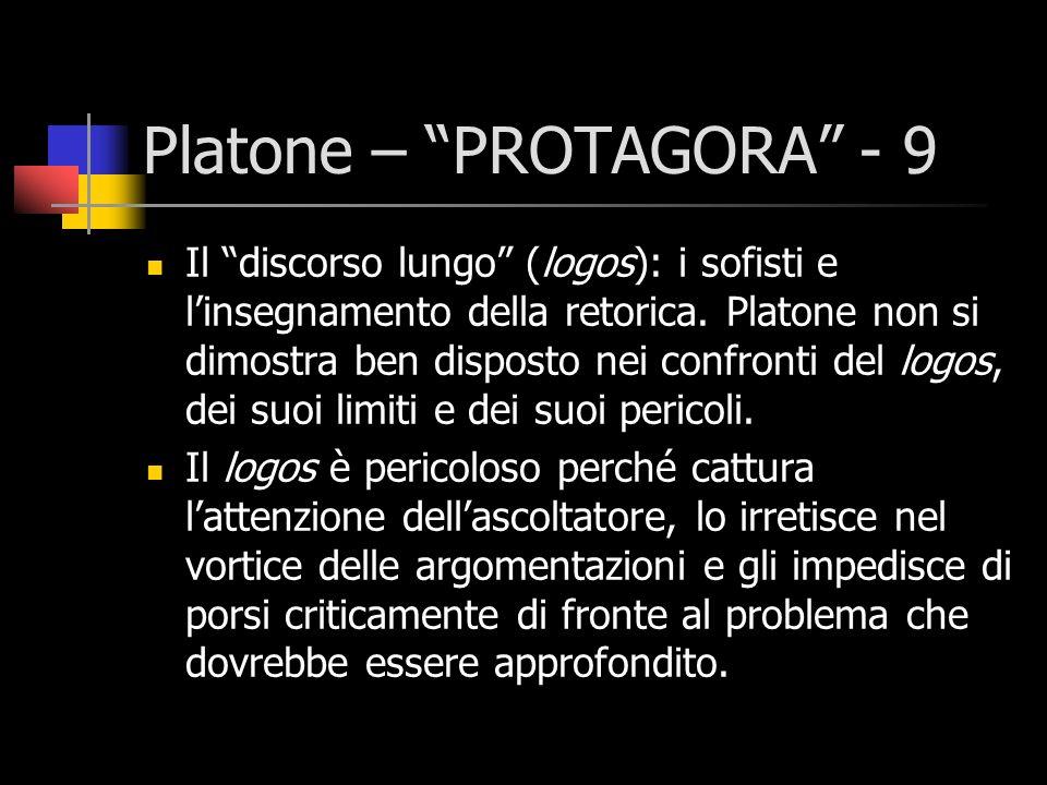 Platone – PROTAGORA - 9 Il discorso lungo (logos): i sofisti e linsegnamento della retorica. Platone non si dimostra ben disposto nei confronti del lo