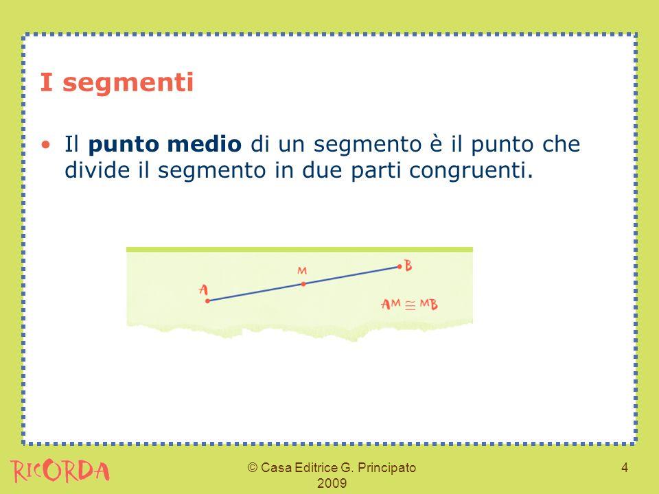 © Casa Editrice G. Principato 2009 4 I segmenti Il punto medio di un segmento è il punto che divide il segmento in due parti congruenti.
