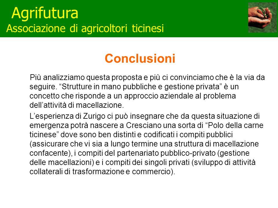 Agrifutura Associazione di agricoltori ticinesi Conclusioni Più analizziamo questa proposta e più ci convinciamo che è la via da seguire.