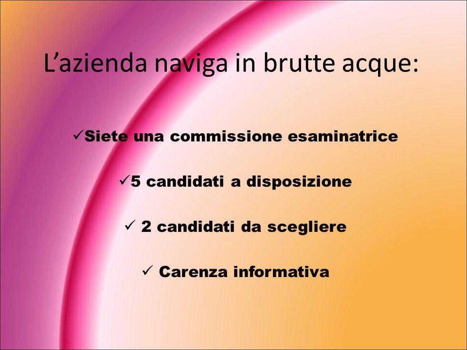 Lazienda naviga in brutte acque: Siete una commissione esaminatrice 5 candidati a disposizione 2 candidati da scegliere Carenza informativa