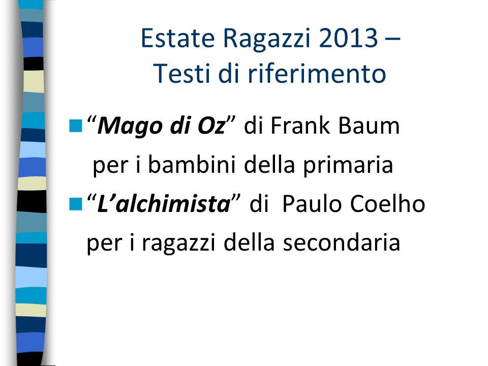 Estate Ragazzi 2013 – Testi di riferimento Mago di Oz di Frank Baum per i bambini della primaria Lalchimista di Paulo Coelho per i ragazzi della secon