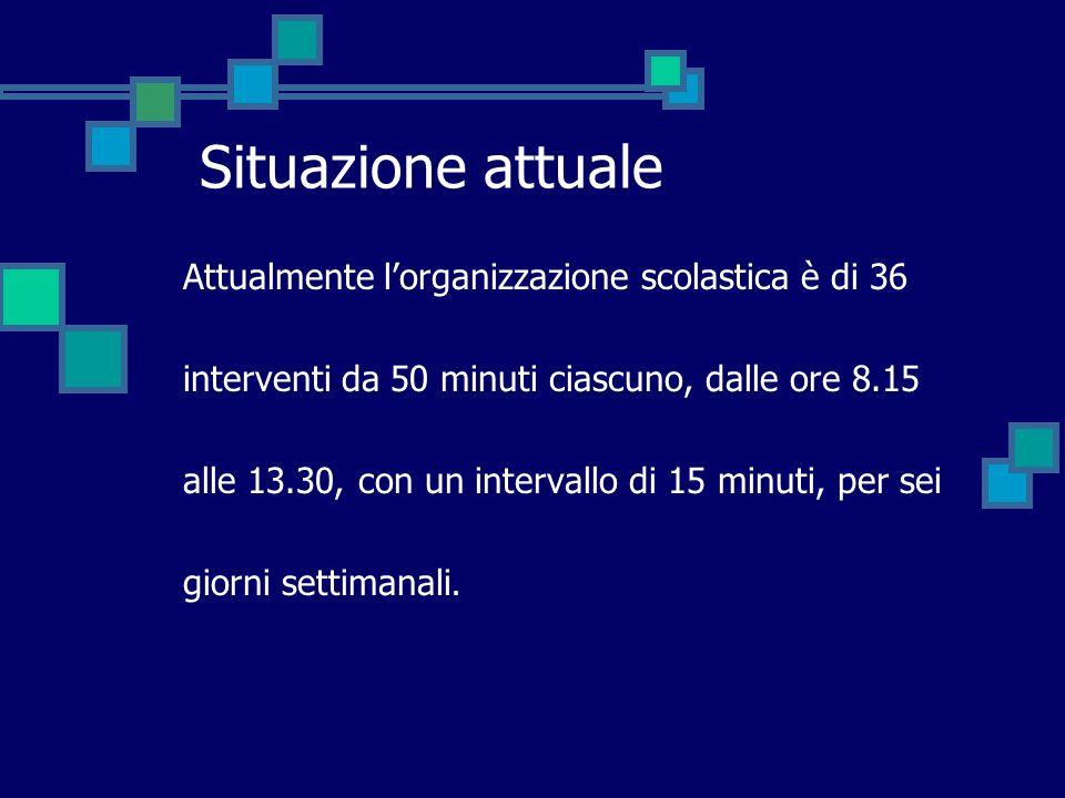 Situazione attuale Attualmente lorganizzazione scolastica è di 36 interventi da 50 minuti ciascuno, dalle ore 8.15 alle 13.30, con un intervallo di 15