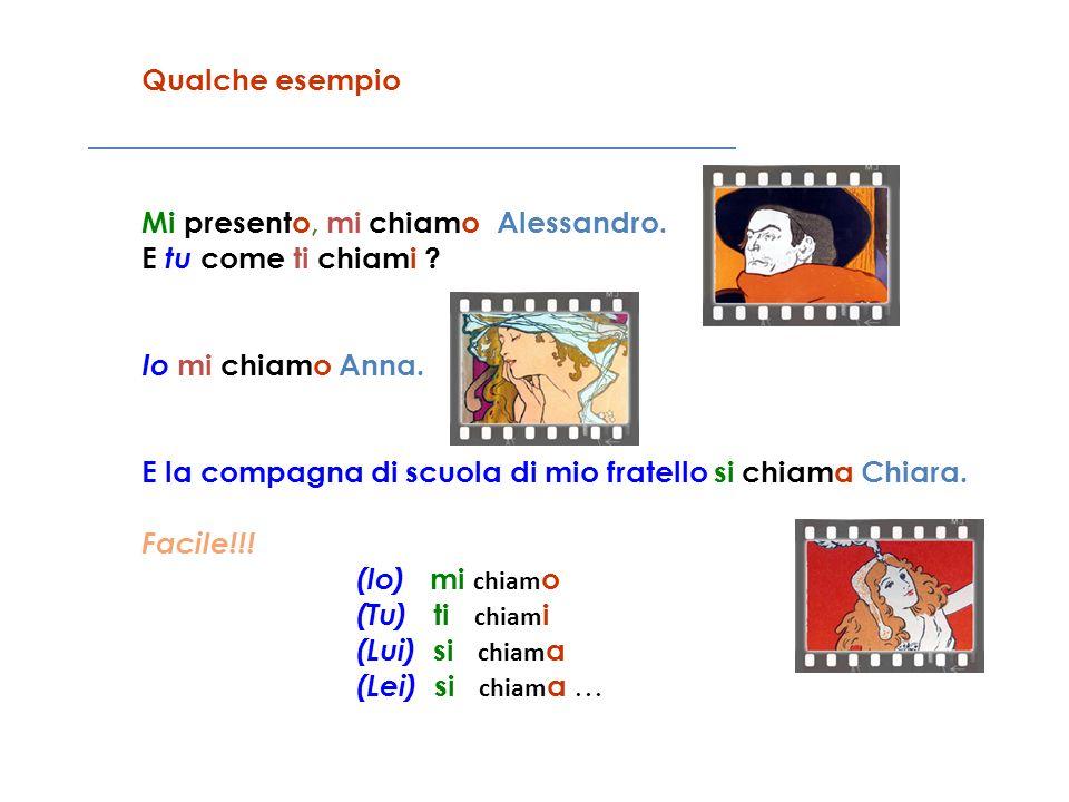 Qualche esempio Mi presento, mi chiamo Alessandro. E tu come ti chiami ? Io mi chiamo Anna. E la compagna di scuola di mio fratello si chiama Chiara.