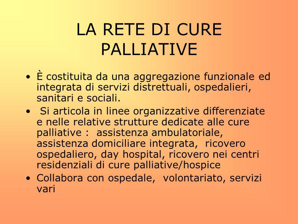LA RETE DI CURE PALLIATIVE È costituita da una aggregazione funzionale ed integrata di servizi distrettuali, ospedalieri, sanitari e sociali. Si artic