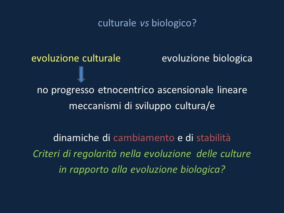 culturale vs biologico? evoluzione culturale evoluzione biologica no progresso etnocentrico ascensionale lineare meccanismi di sviluppo cultura/e dina