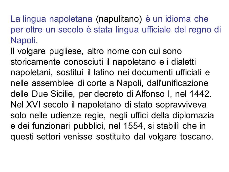 La lingua napoletana (napulitano) è un idioma che per oltre un secolo è stata lingua ufficiale del regno di Napoli.