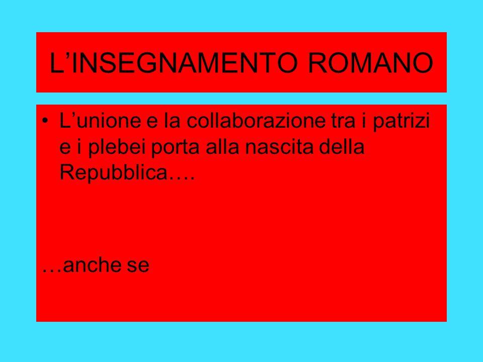 LINSEGNAMENTO ROMANO Lunione e la collaborazione tra i patrizi e i plebei porta alla nascita della Repubblica….