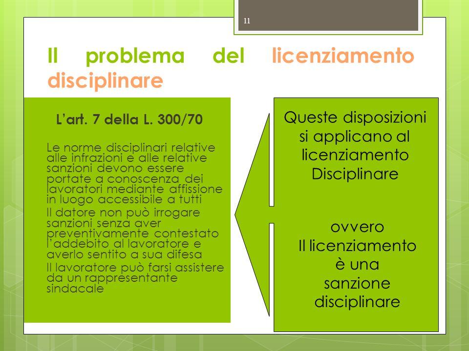 Il problema del licenziamento disciplinare 11 Lart. 7 della L. 300/70 Le norme disciplinari relative alle infrazioni e alle relative sanzioni devono e