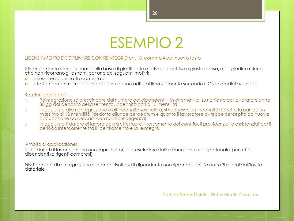 ESEMPIO 2 LICENZIAMENTO DISCIPLINARE CON REINTEGRO art. 18, comma 4 del nuovo testo Il licenziamento viene intimato sulla base di giustificato motivo