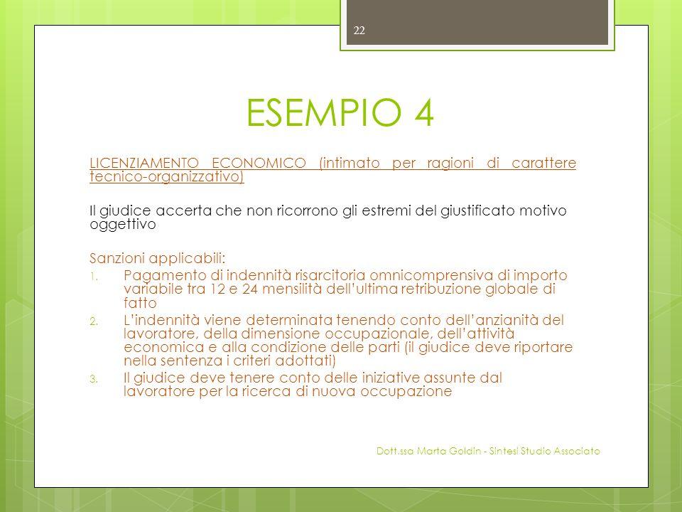 ESEMPIO 4 LICENZIAMENTO ECONOMICO (intimato per ragioni di carattere tecnico-organizzativo) Il giudice accerta che non ricorrono gli estremi del giust