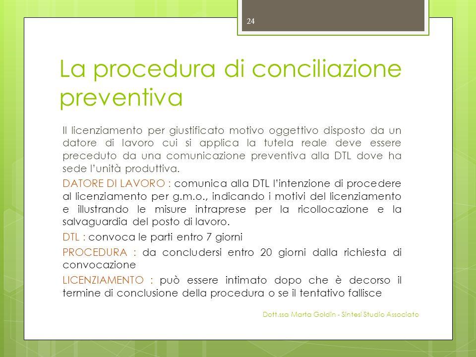 La procedura di conciliazione preventiva Il licenziamento per giustificato motivo oggettivo disposto da un datore di lavoro cui si applica la tutela r