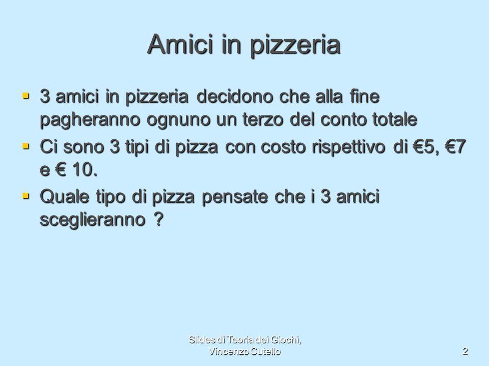 Slides di Teoria dei Giochi, Vincenzo Cutello2 Amici in pizzeria 3 amici in pizzeria decidono che alla fine pagheranno ognuno un terzo del conto total