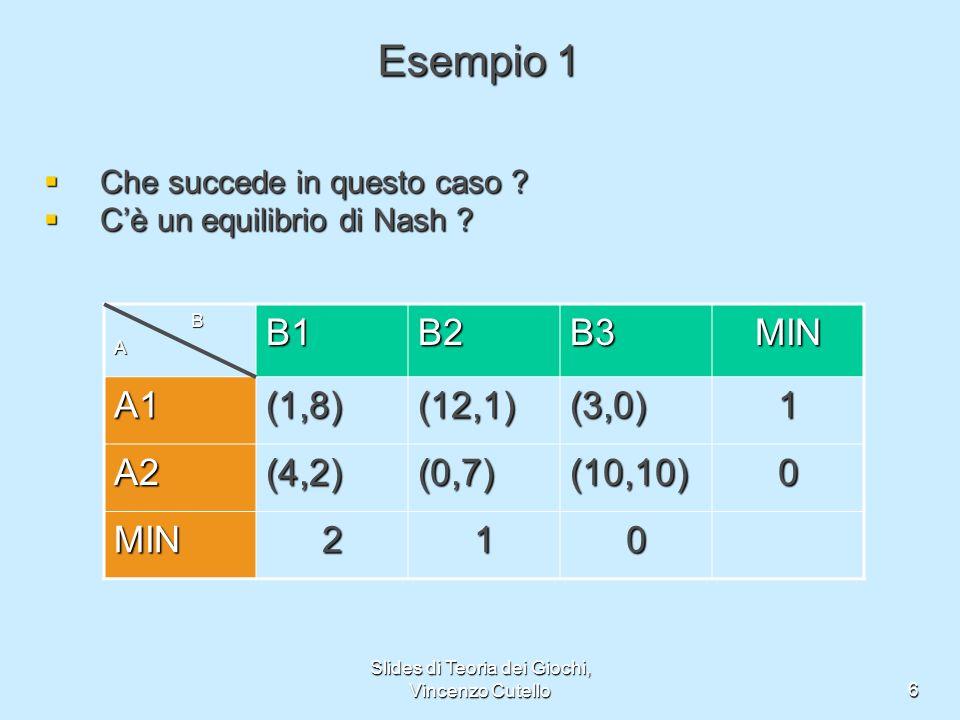 Slides di Teoria dei Giochi, Vincenzo Cutello6 Esempio 1 Che succede in questo caso ? Che succede in questo caso ? Cè un equilibrio di Nash ? Cè un eq