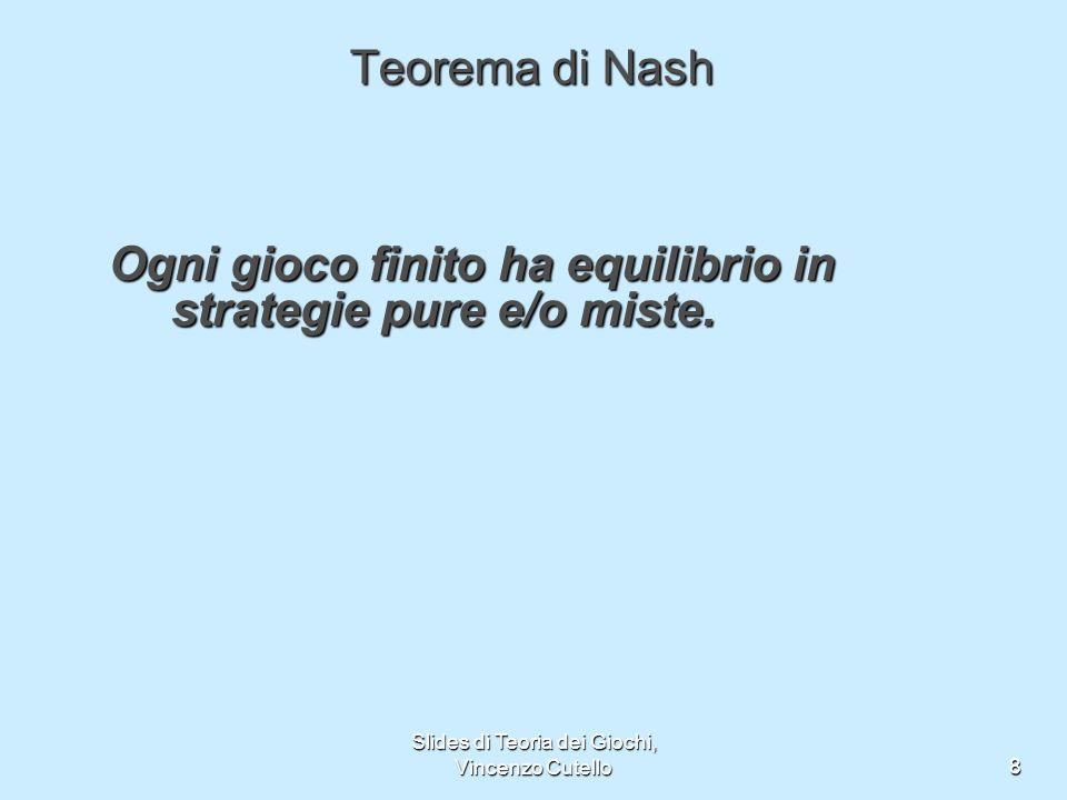 Slides di Teoria dei Giochi, Vincenzo Cutello8 Teorema di Nash Ogni gioco finito ha equilibrio in strategie pure e/o miste.