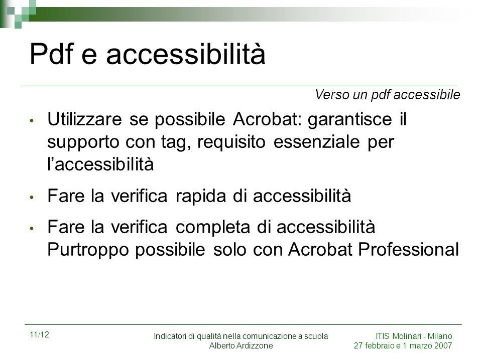 11/12 Indicatori di qualità nella comunicazione a scuola Alberto Ardizzone ITIS Molinari - Milano 27 febbraio e 1 marzo 2007 Pdf e accessibilità Utili
