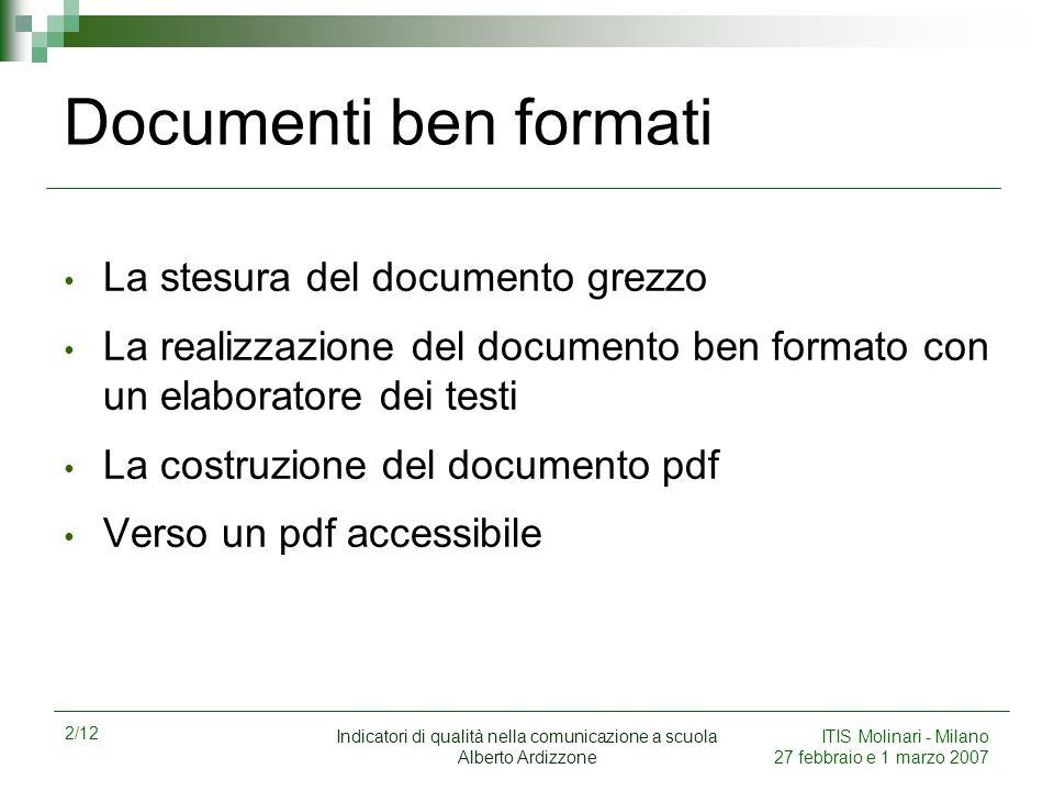 2/12 Indicatori di qualità nella comunicazione a scuola Alberto Ardizzone ITIS Molinari - Milano 27 febbraio e 1 marzo 2007 Documenti ben formati La s