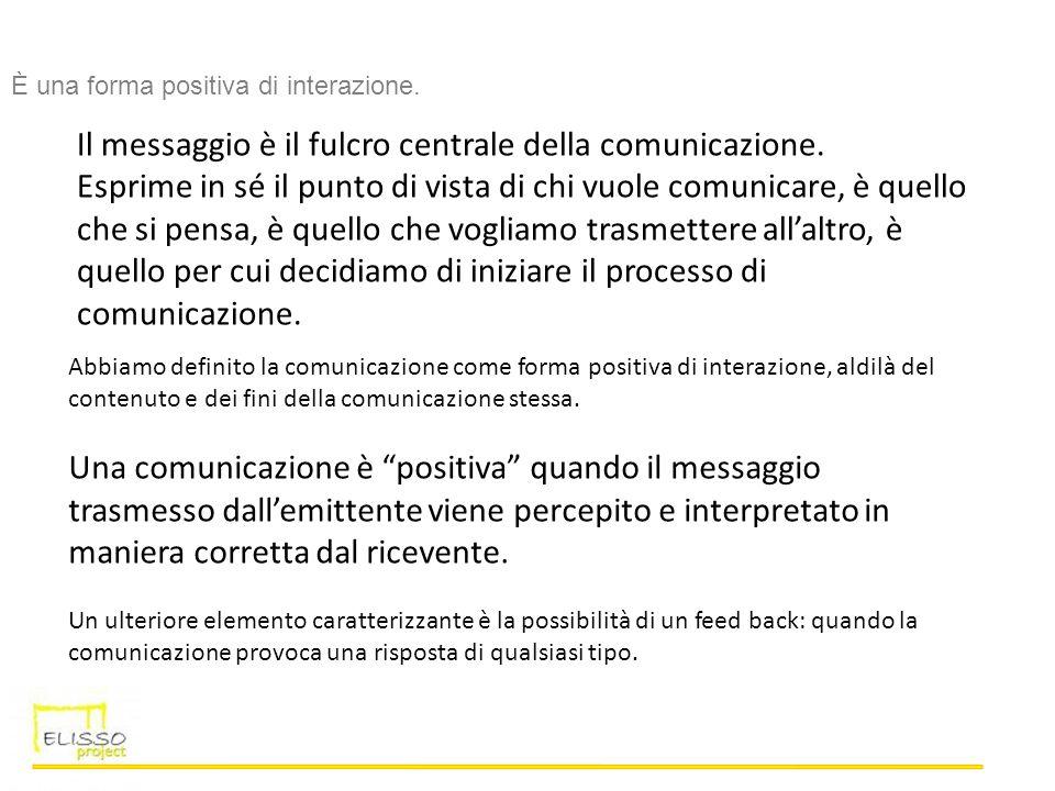 Il messaggio è il fulcro centrale della comunicazione. Esprime in sé il punto di vista di chi vuole comunicare, è quello che si pensa, è quello che vo