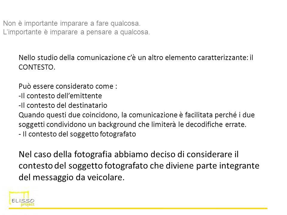 Nello studio della comunicazione cè un altro elemento caratterizzante: il CONTESTO. Può essere considerato come : -Il contesto dellemittente -Il conte