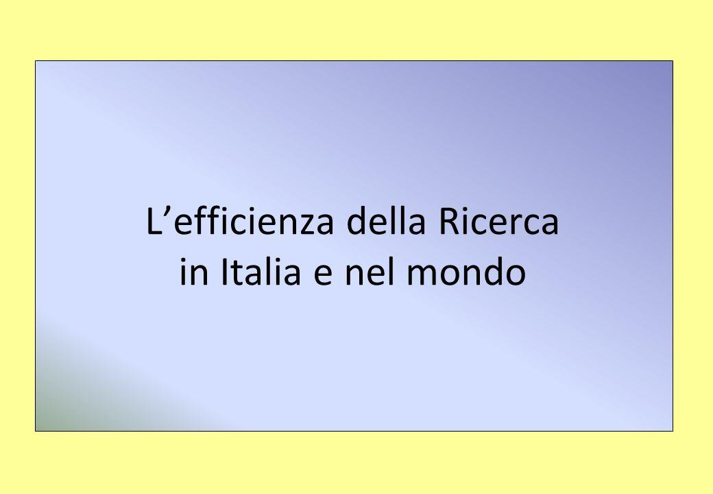 Lefficienza della Ricerca in Italia e nel mondo
