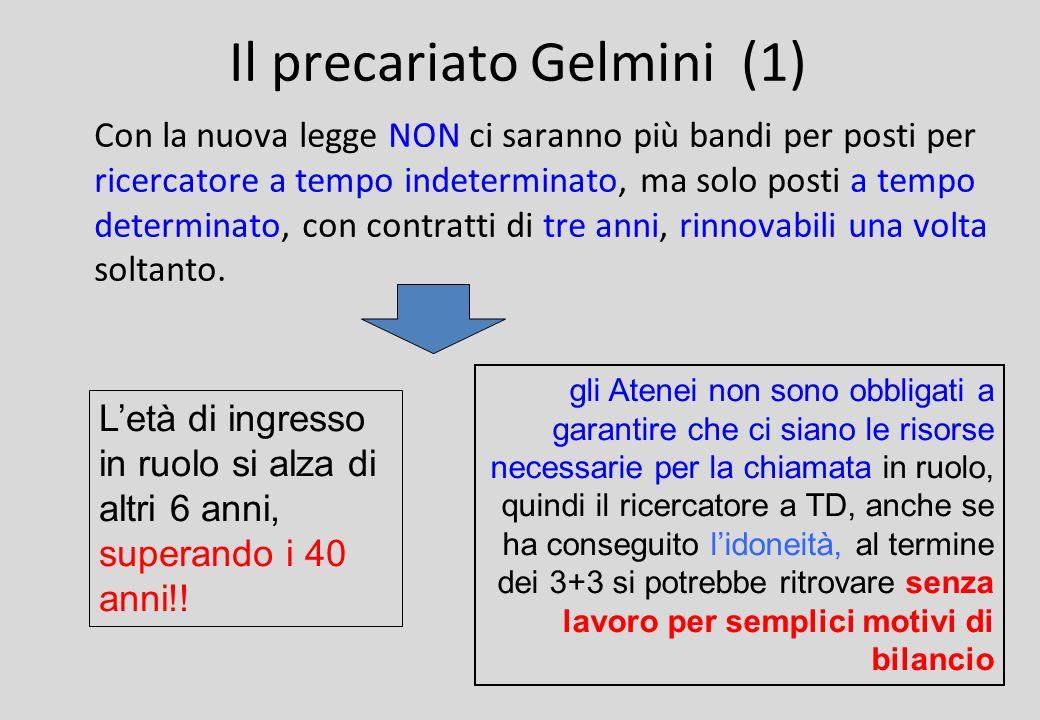 Il precariato Gelmini (1) Con la nuova legge NON ci saranno più bandi per posti per ricercatore a tempo indeterminato, ma solo posti a tempo determinato, con contratti di tre anni, rinnovabili una volta soltanto.