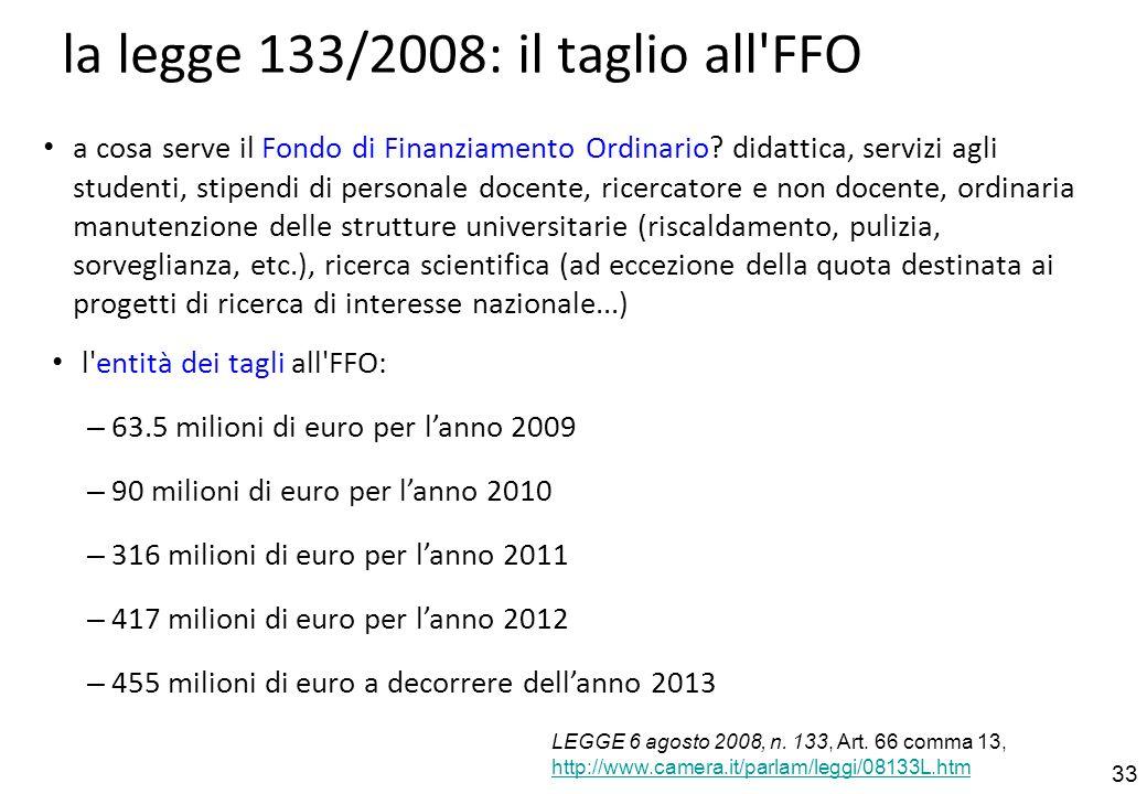 33 la legge 133/2008: il taglio all FFO a cosa serve il Fondo di Finanziamento Ordinario.