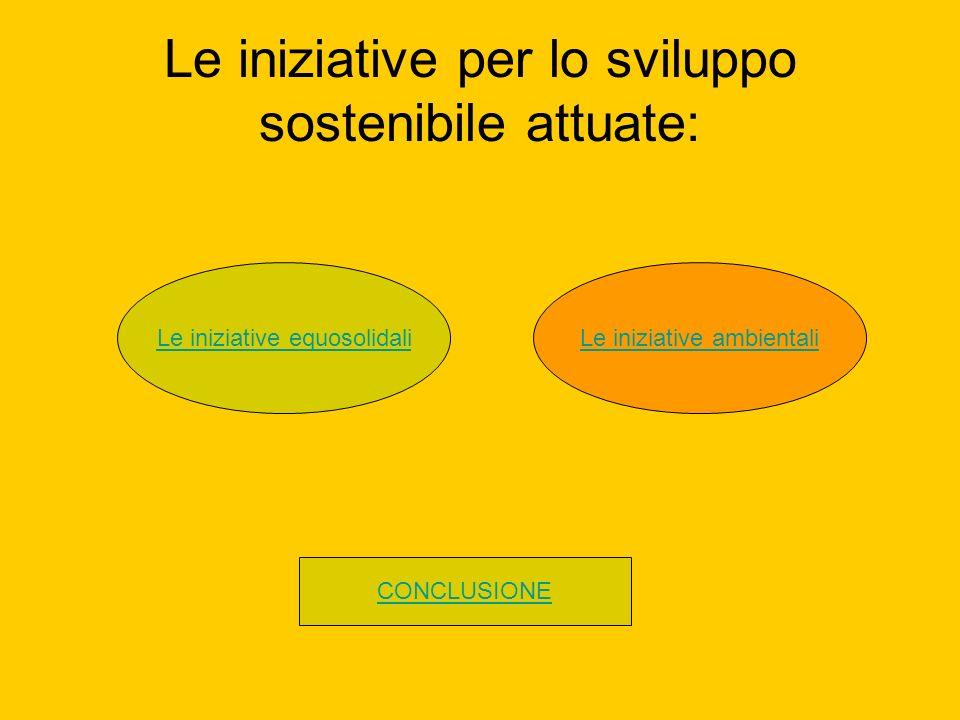 Le iniziative per lo sviluppo sostenibile attuate: Le iniziative equosolidaliLe iniziative ambientali CONCLUSIONE
