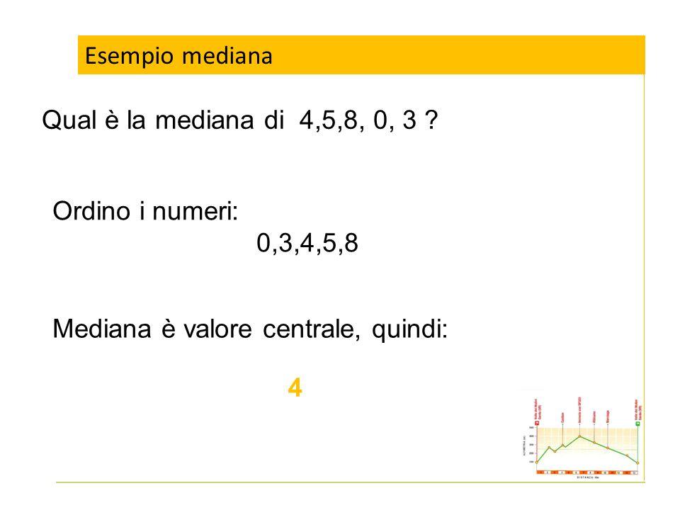 Esempio mediana Qual è la mediana di 4,5,8, 0, 3 ? Ordino i numeri: 0,3,4,5,8 Mediana è valore centrale, quindi: 4
