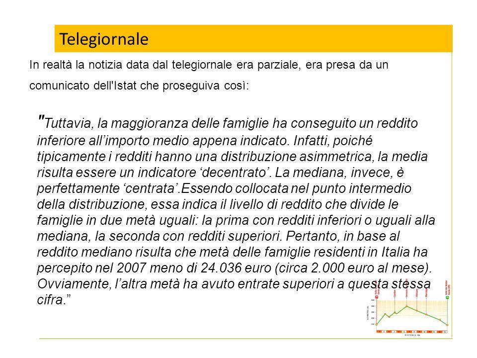 Telegiornale In realtà la notizia data dal telegiornale era parziale, era presa da un comunicato dell'Istat che proseguiva così: