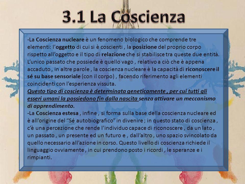 -La Coscienza nucleare è un fenomeno biologico che comprende tre elementi: loggetto di cui si è coscienti, la posizione del proprio corpo rispetto all