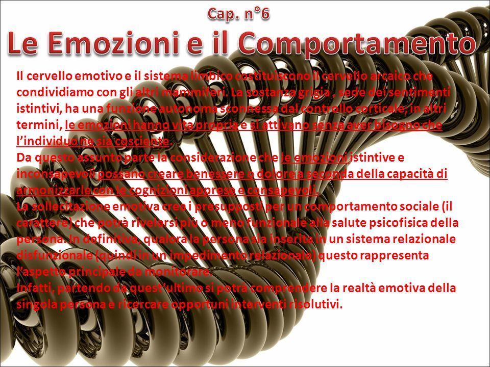 Il cervello emotivo e il sistema limbico costituiscono il cervello arcaico che condividiamo con gli altri mammiferi. La sostanza grigia, sede dei sent