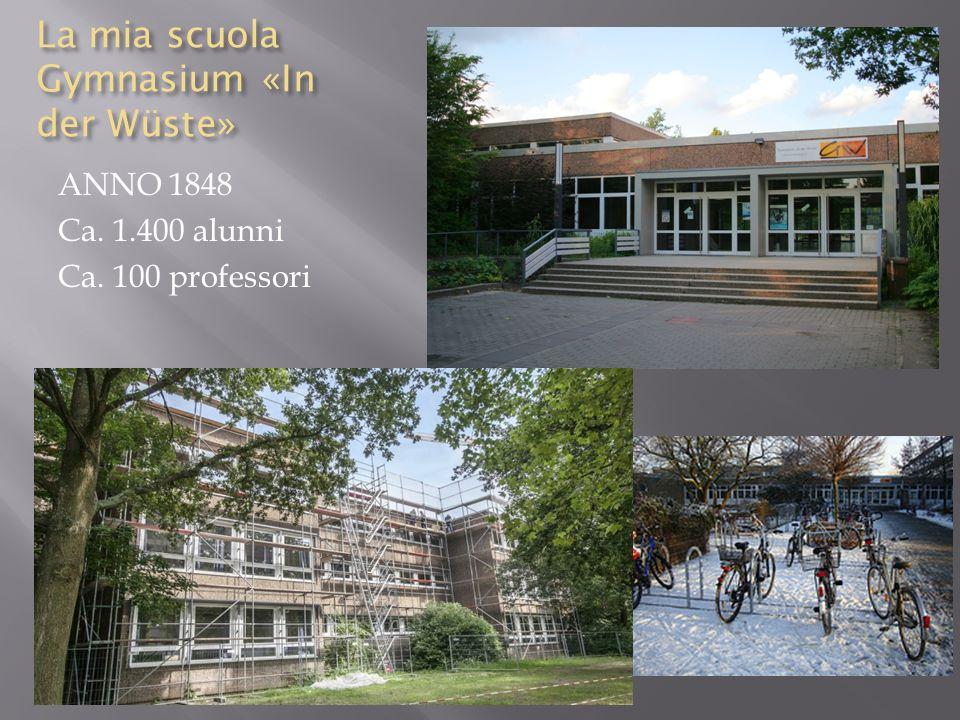 La mia scuola Gymnasium «In der Wüste» ANNO 1848 Ca. 1.400 alunni Ca. 100 professori