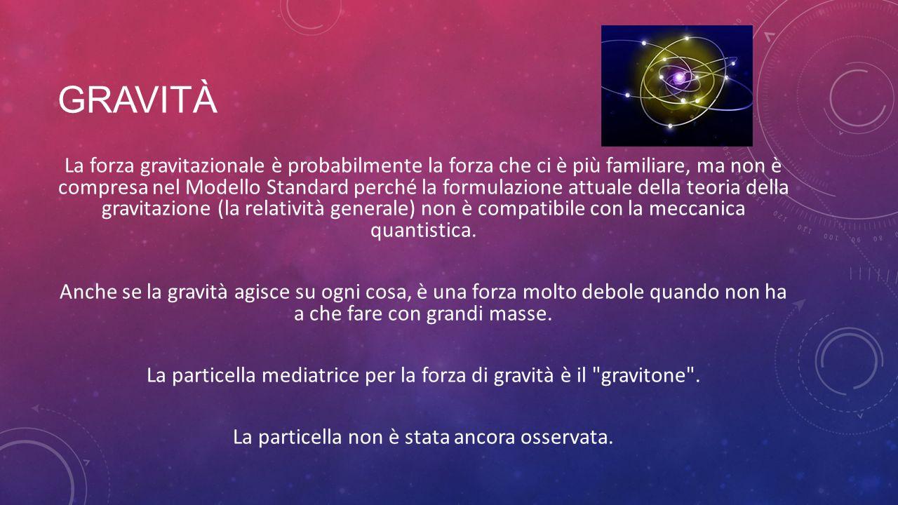 GRAVITÀ La forza gravitazionale è probabilmente la forza che ci è più familiare, ma non è compresa nel Modello Standard perché la formulazione attuale