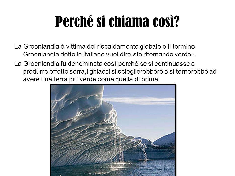 Perché si chiama così? La Groenlandia è vittima del riscaldamento globale e il termine Groenlandia detto in italiano vuol dire-sta ritornando verde-.