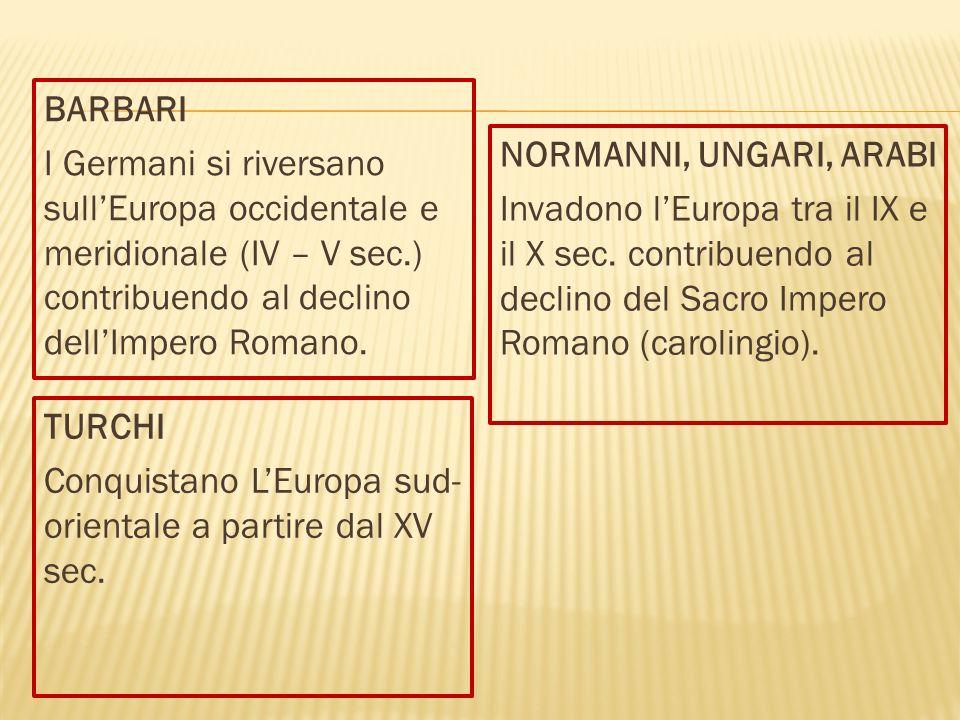 BARBARI I Germani si riversano sullEuropa occidentale e meridionale (IV – V sec.) contribuendo al declino dellImpero Romano.